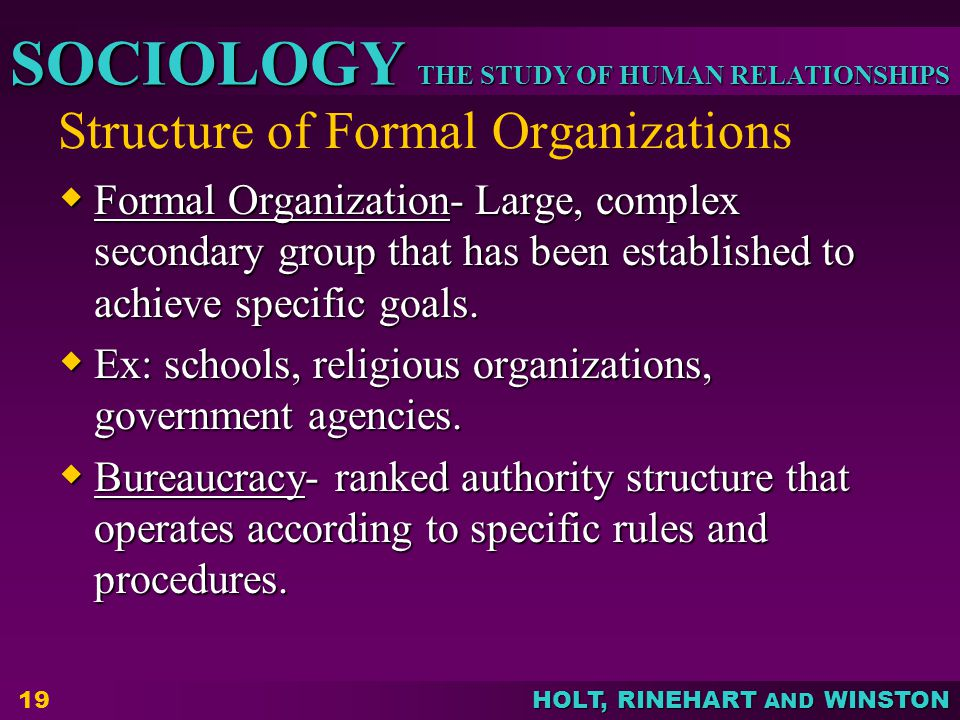 Structure of Formal Organizations