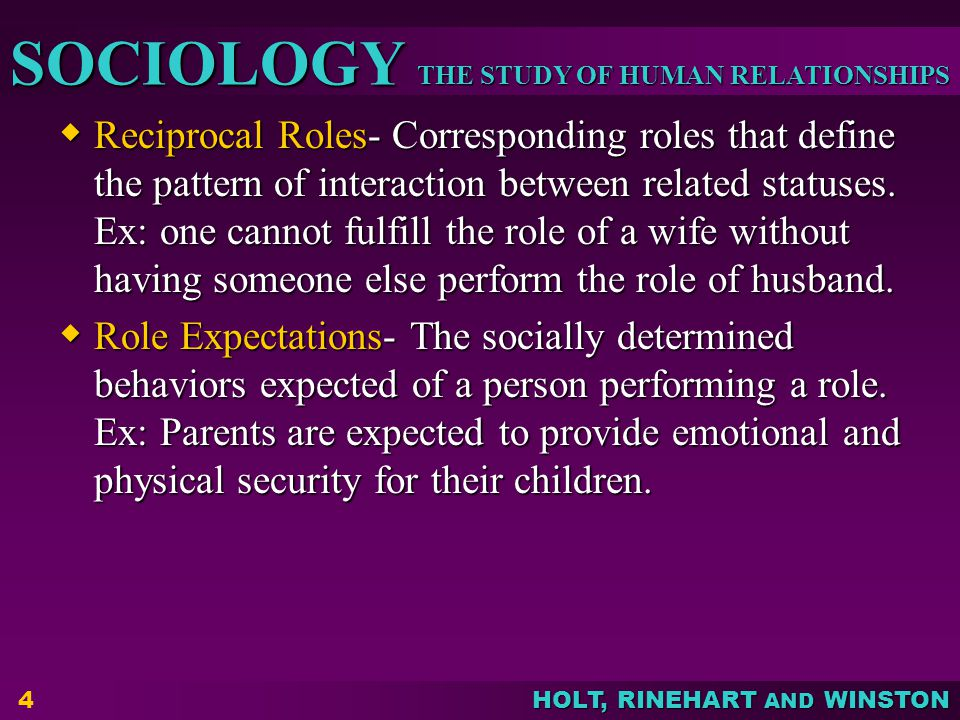 Reciprocal Roles- Corresponding roles that define the pattern of interaction between related statuses. Ex: one cannot fulfill the role of a wife without having someone else perform the role of husband.