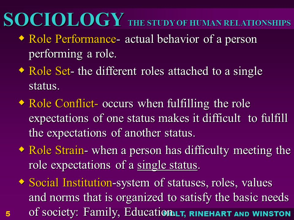 Role Performance- actual behavior of a person performing a role.