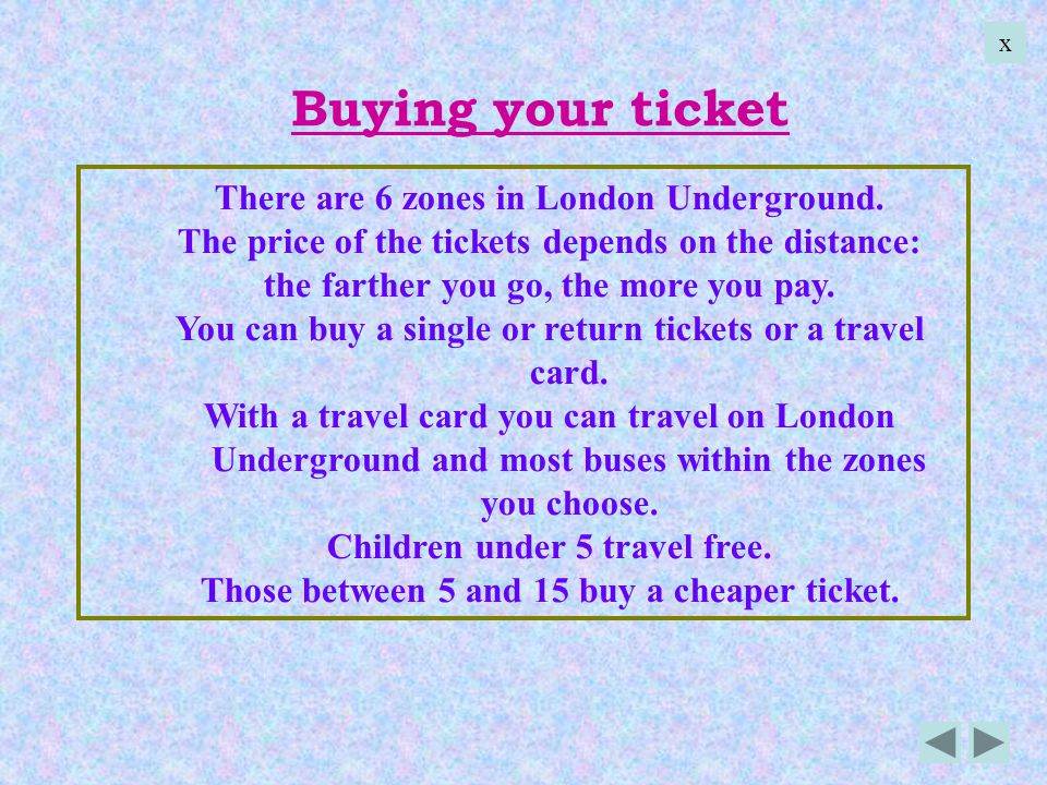 Buying your ticket There are 6 zones in London Underground.
