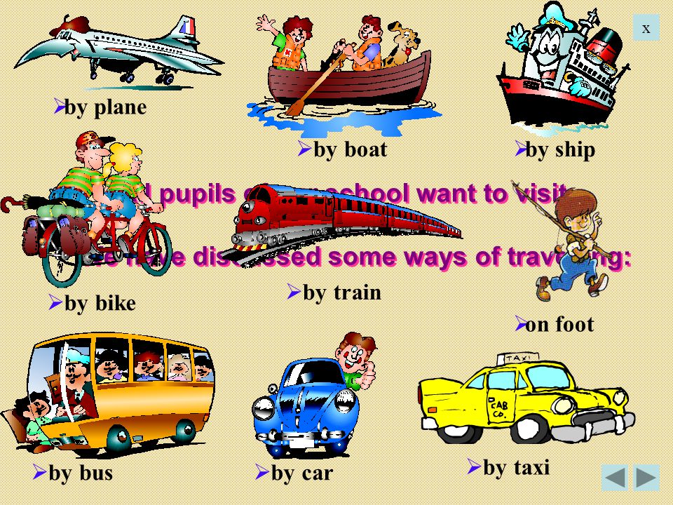 x by plane. by boat. by ship. All pupils of our school want to visit Great Britain. We have discussed some ways of travelling: