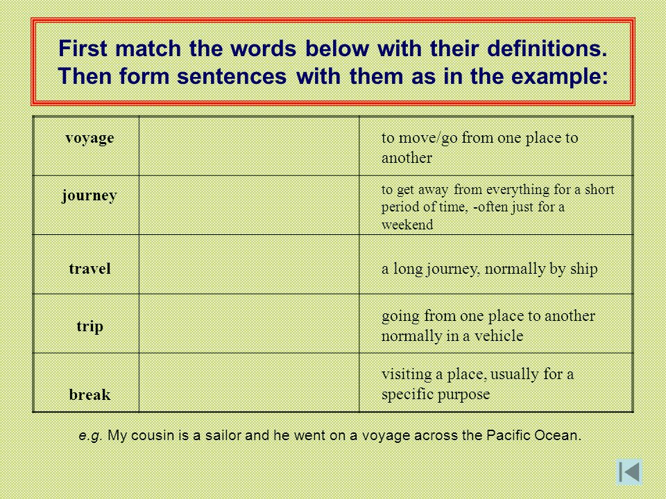 First match the words below with their definitions