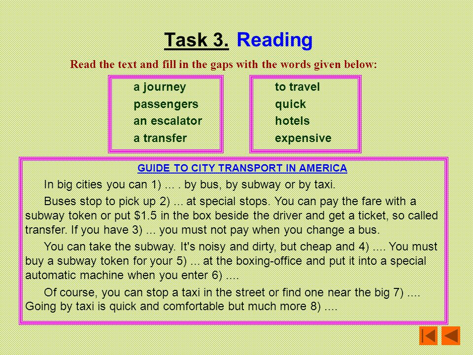 GUIDE TO CITY TRANSPORT IN AMERICA