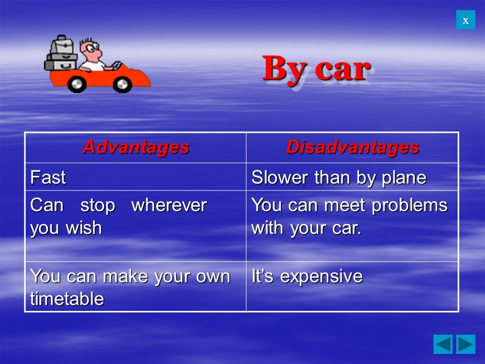 By car Advantages Disadvantages Fast Slower than by plane