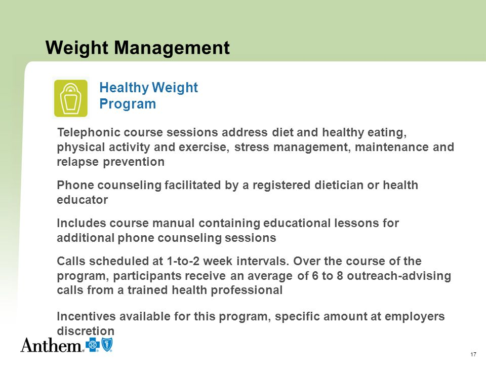 Weight Management Healthy Weight Program