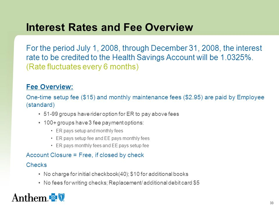 Interest Rates and Fee Overview