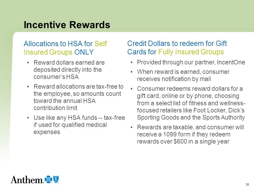 Incentive Rewards Allocations to HSA for Self Insured Groups ONLY