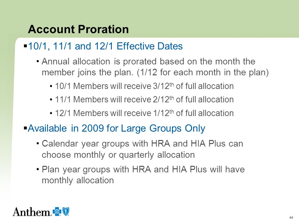 Account Proration 10/1, 11/1 and 12/1 Effective Dates