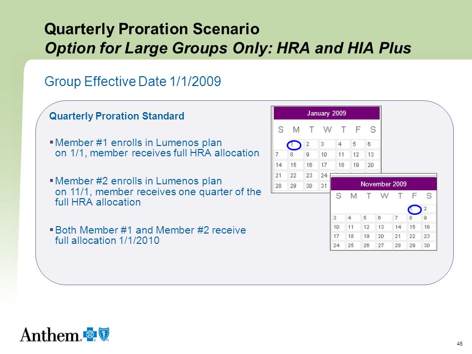 Quarterly Proration Scenario Option for Large Groups Only: HRA and HIA Plus