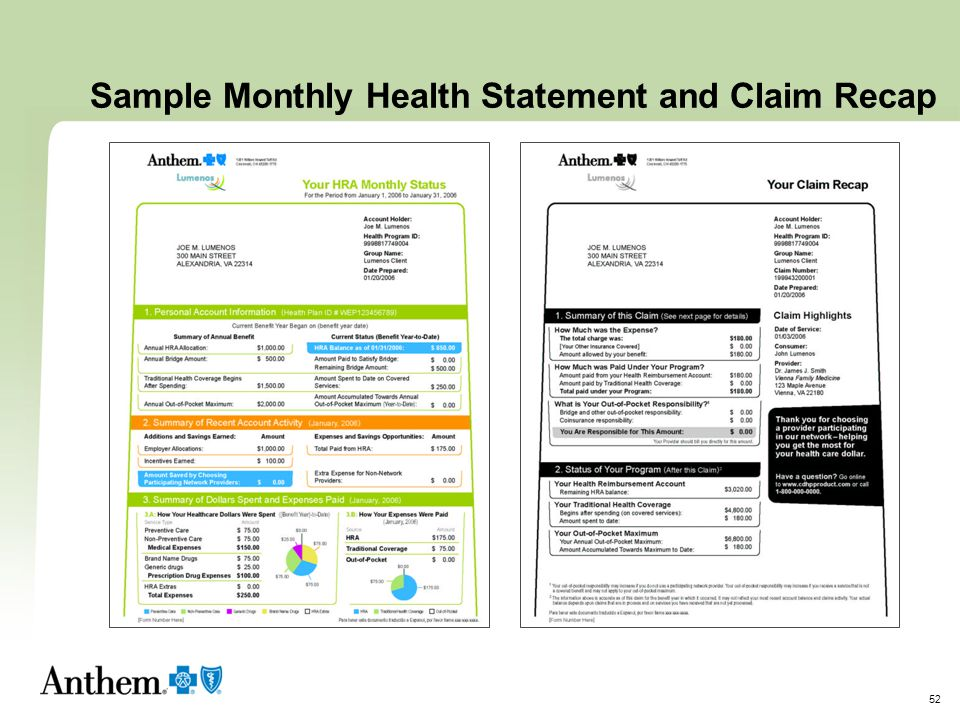 Sample Monthly Health Statement and Claim Recap