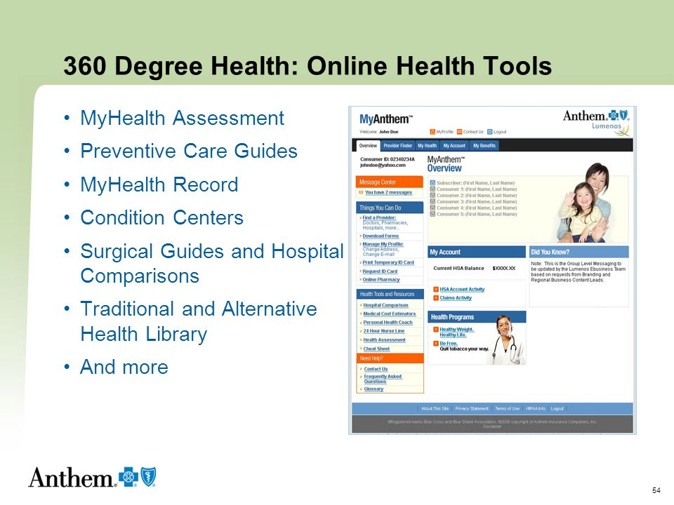360 Degree Health: Online Health Tools