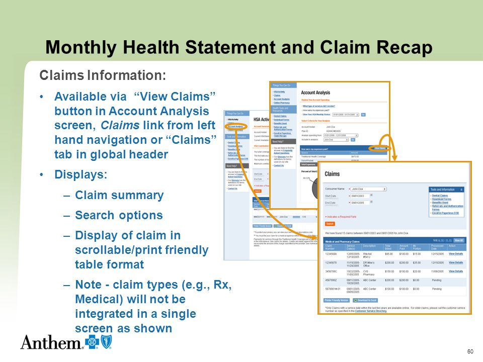 Monthly Health Statement and Claim Recap