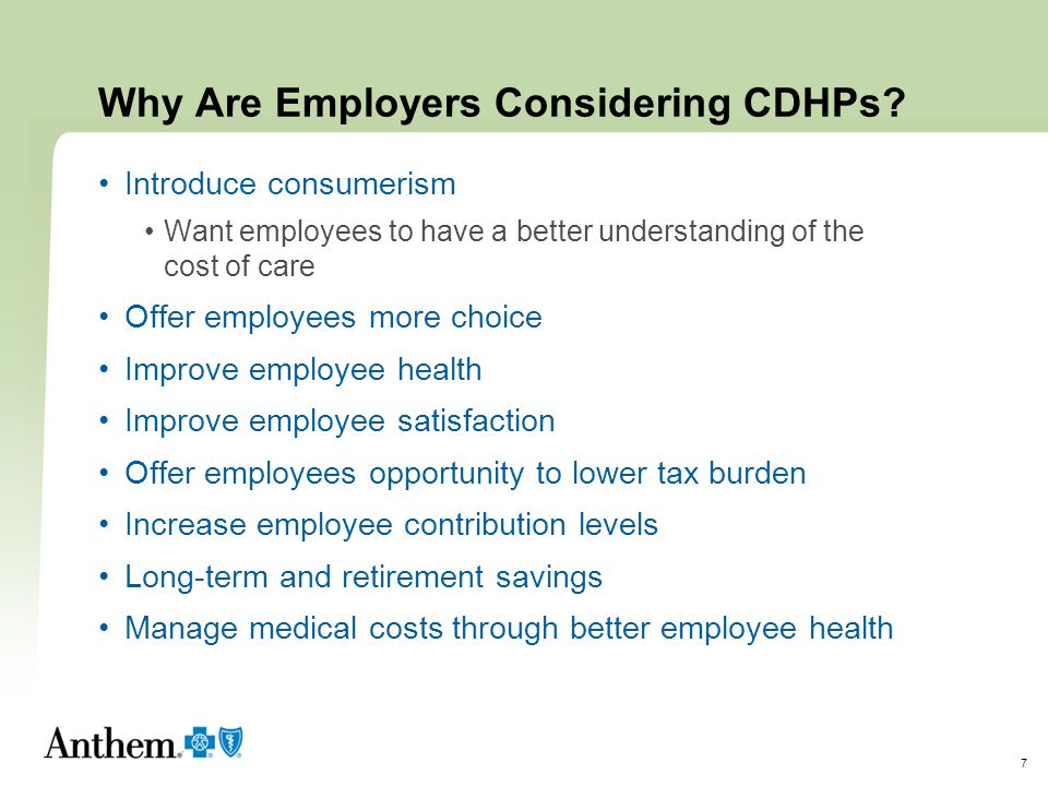 Why Are Employers Considering CDHPs