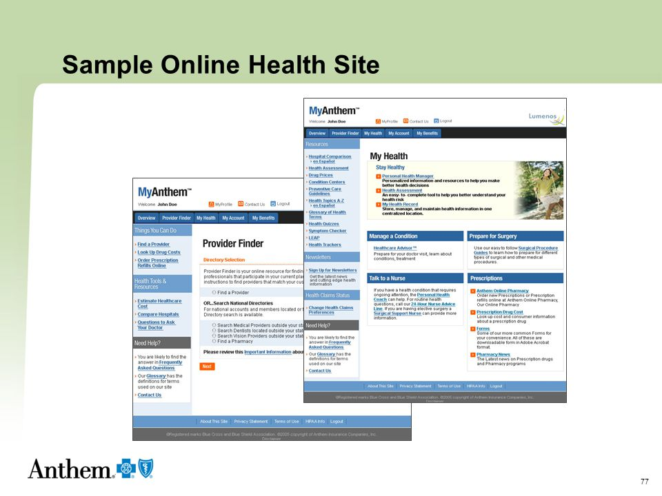 Sample Online Health Site