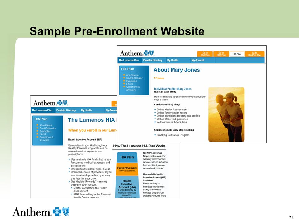 Sample Pre-Enrollment Website