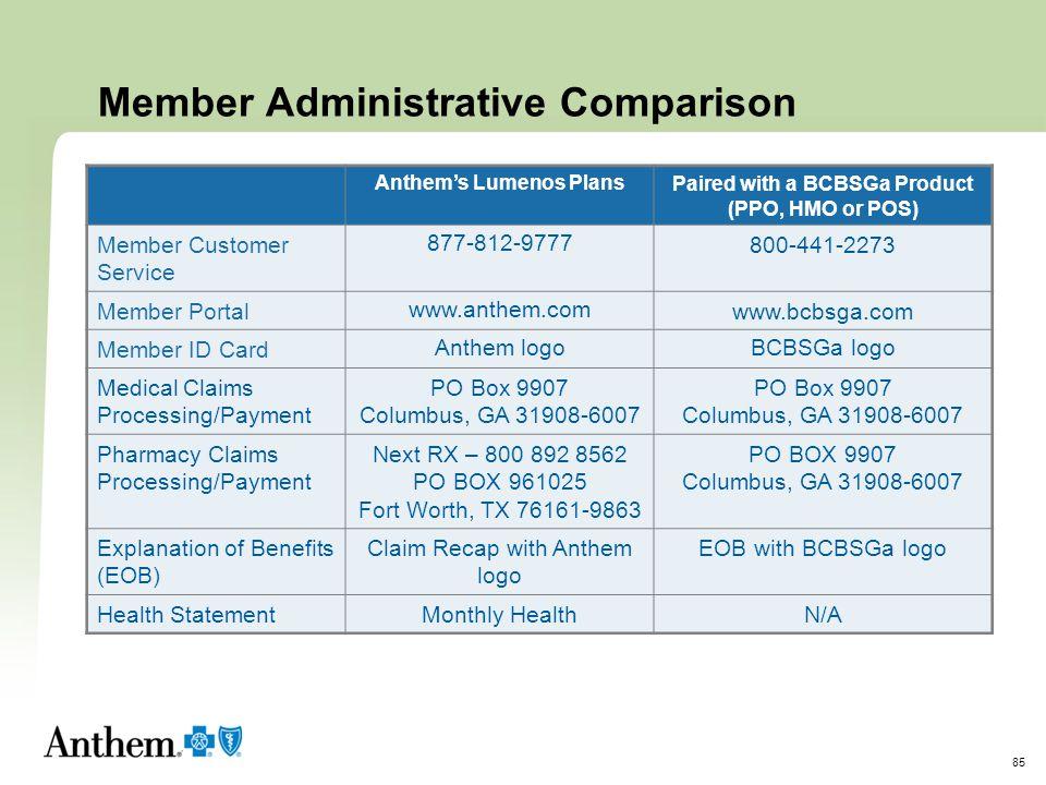 Member Administrative Comparison