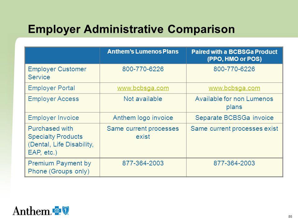 Employer Administrative Comparison