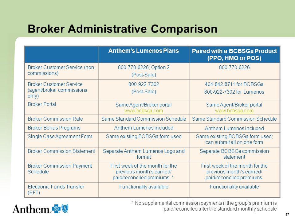 Broker Administrative Comparison