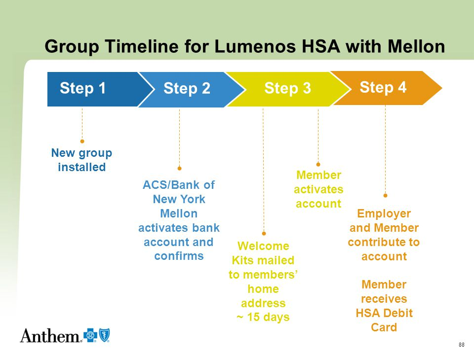 Group Timeline for Lumenos HSA with Mellon