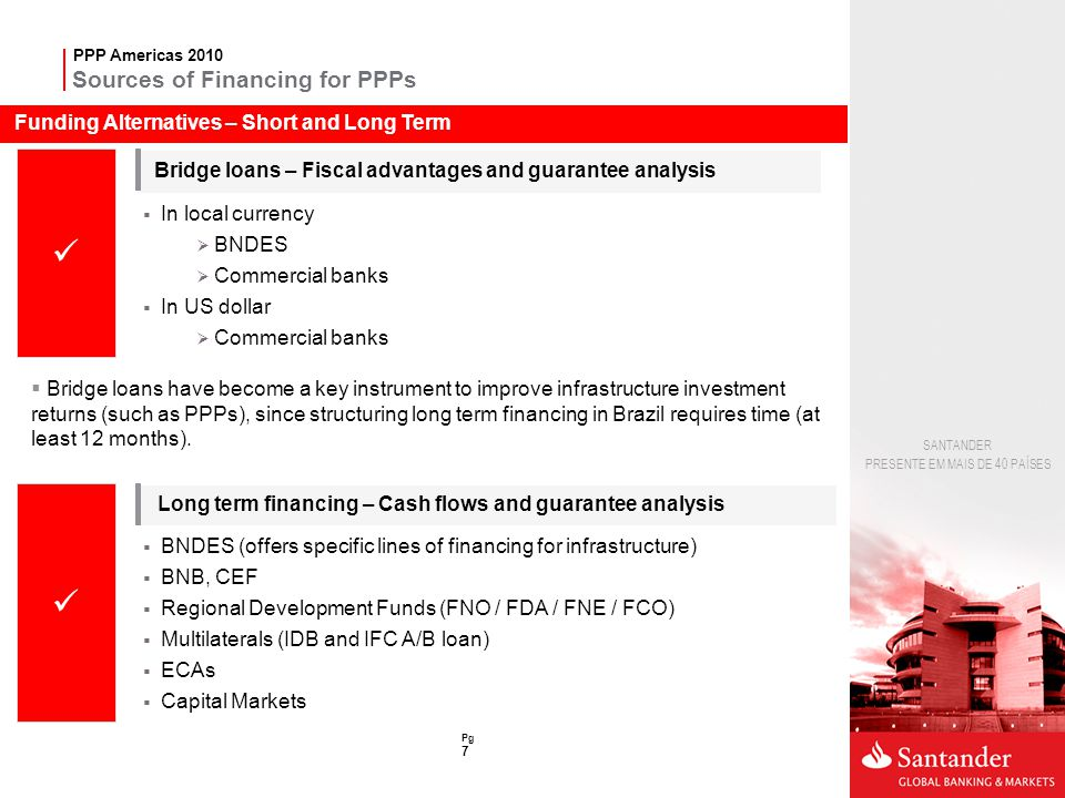 Sources of Financing for PPPs