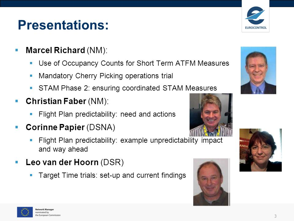 Presentations: Marcel Richard (NM): Christian Faber (NM):