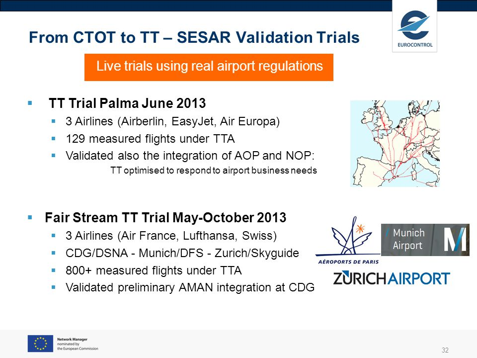 From CTOT to TT – SESAR Validation Trials