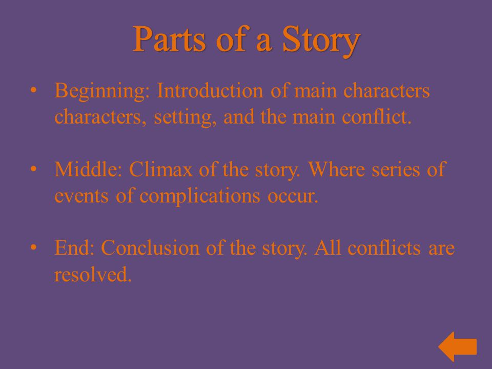 Parts of a Story Beginning: Introduction of main characters characters, setting, and the main conflict.