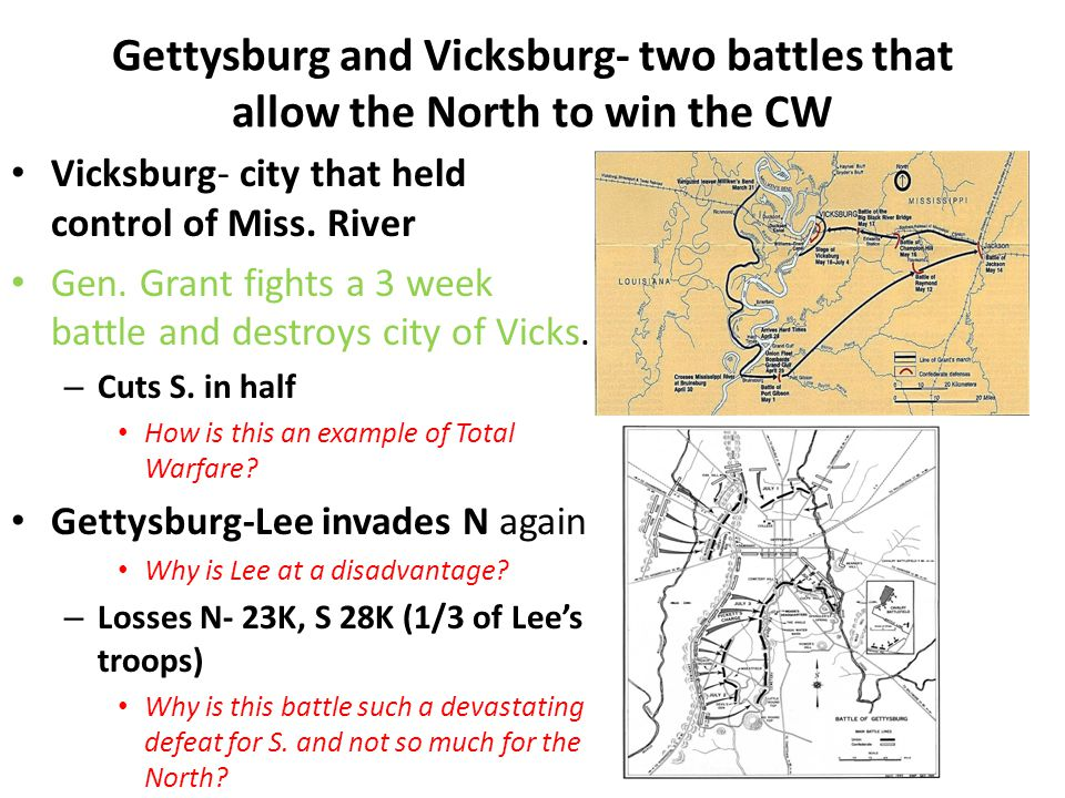 Gettysburg and Vicksburg- two battles that allow the North to win the CW