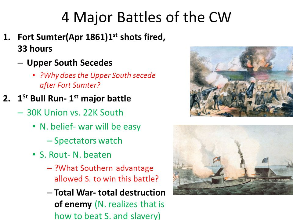 4 Major Battles of the CW Fort Sumter(Apr 1861)1st shots fired, 33 hours. Upper South Secedes. Why does the Upper South secede after Fort Sumter