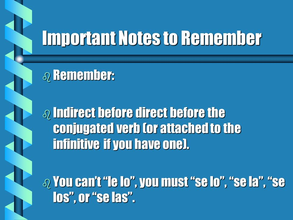 Important Notes to Remember