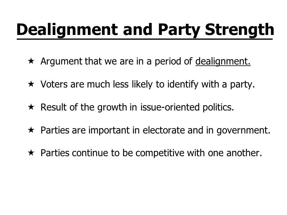Dealignment and Party Strength