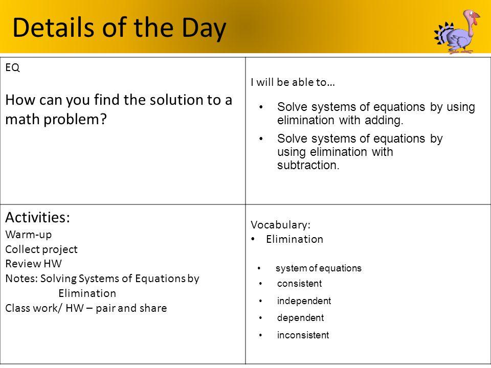 Details of the Day How can you find the solution to a math problem