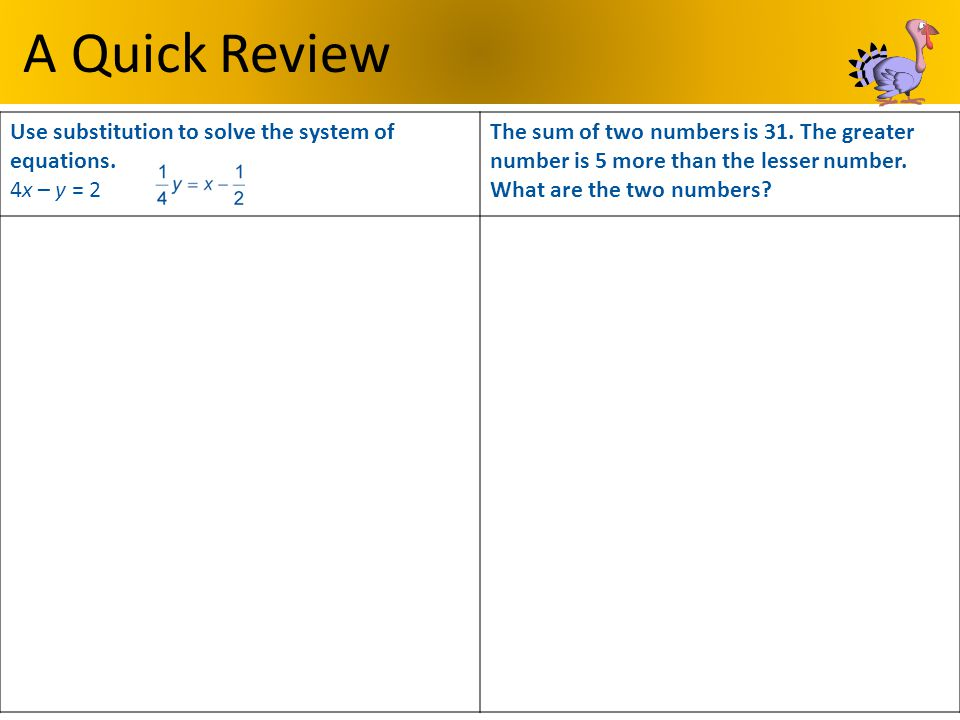 A Quick Review Use substitution to solve the system of equations. 4x – y = 2.