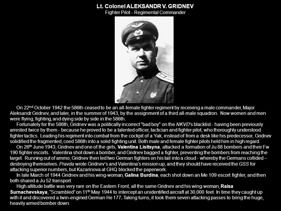 Lt. Colonel ALEKSANDR V. GRIDNEV Fighter Pilot - Regimental Commander