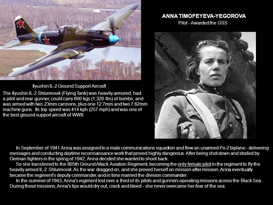 ANNA TIMOFEYEVA-YEGOROVA Pilot - Awarded the GSS