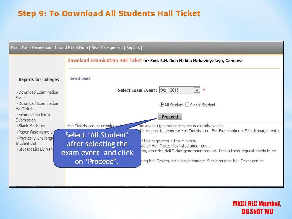 Step 9: To Download All Students Hall Ticket