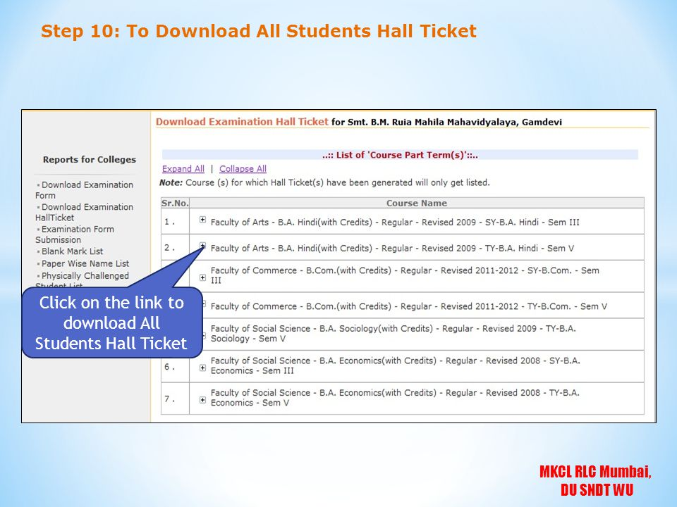 Click on the link to download All Students Hall Ticket