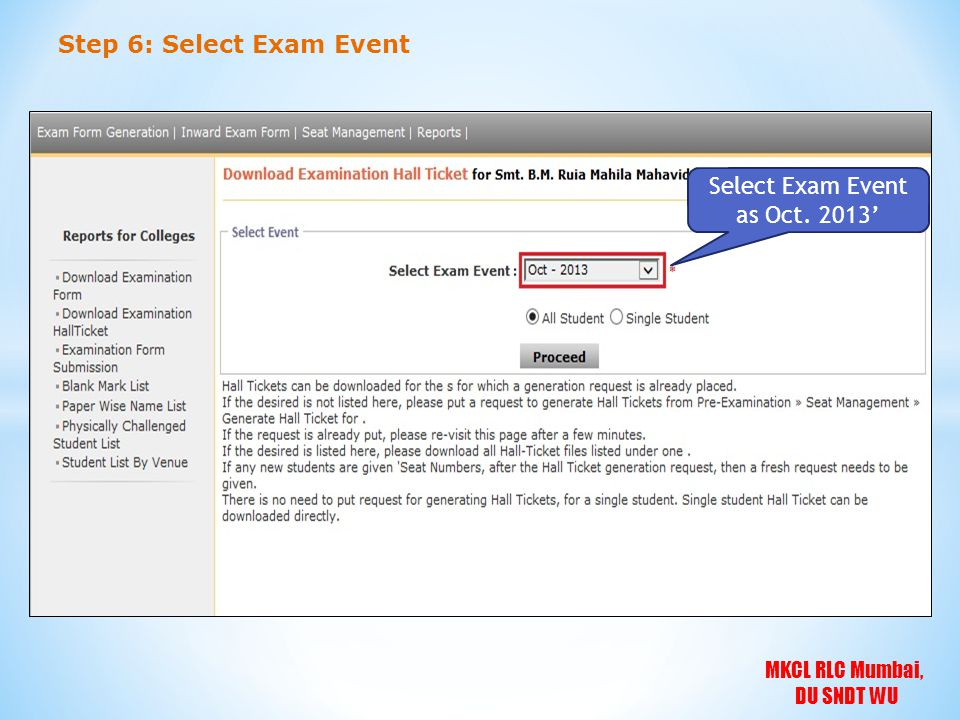 Select Exam Event as Oct. 2013'