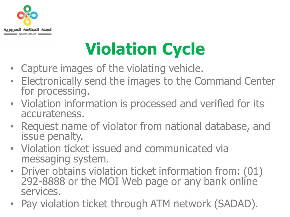 Violation Cycle Capture images of the violating vehicle.