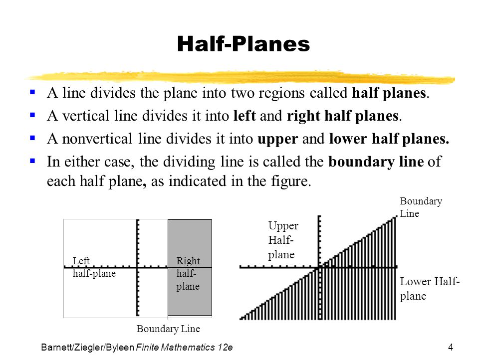 Half-Planes A line divides the plane into two regions called half planes. A vertical line divides it into left and right half planes.