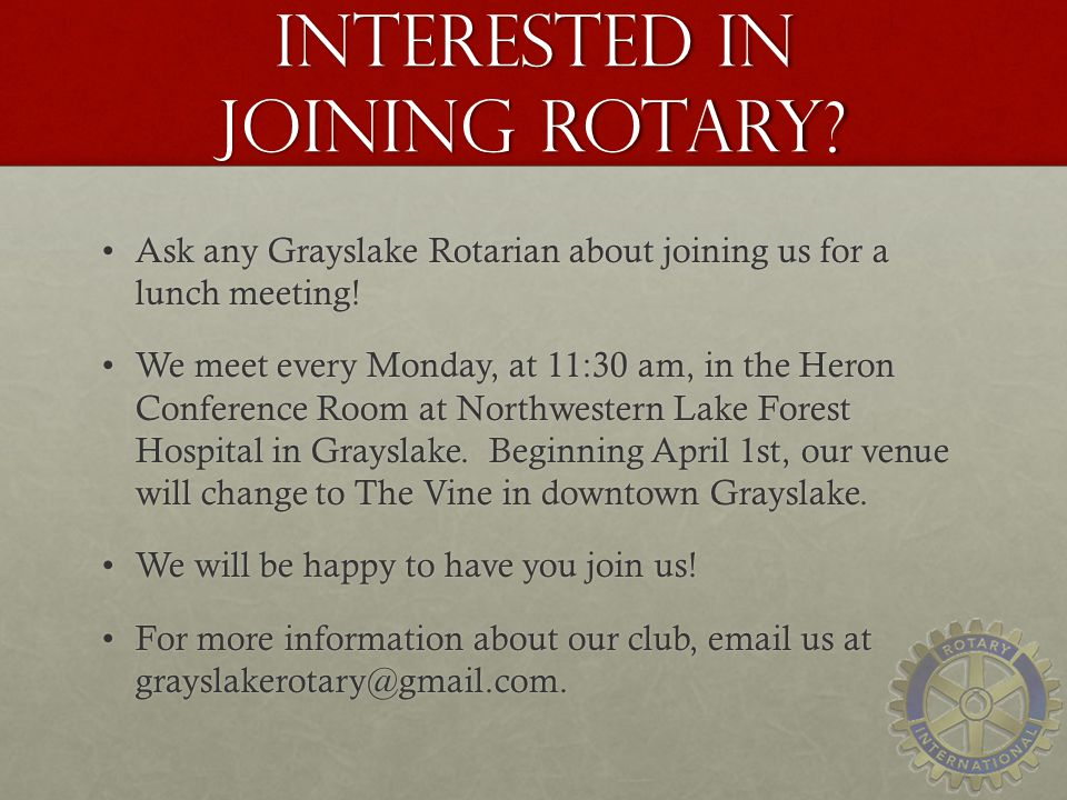 Interested in Joining Rotary