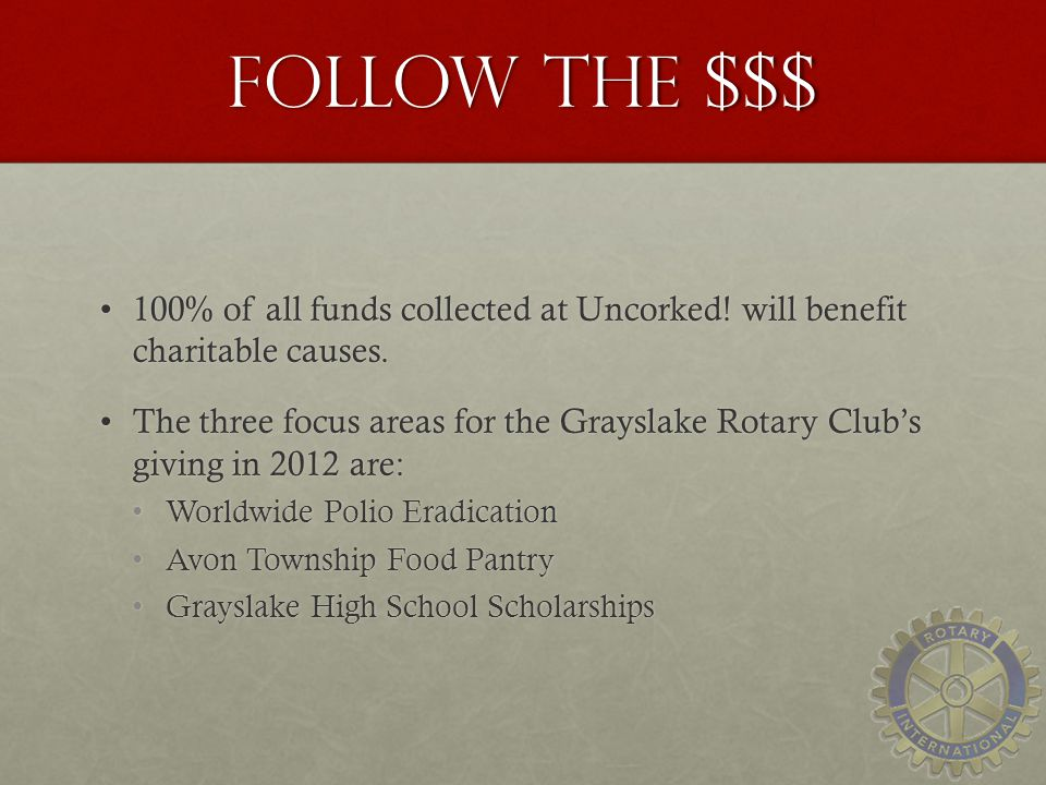 Follow the $$$ 100% of all funds collected at Uncorked! will benefit charitable causes.