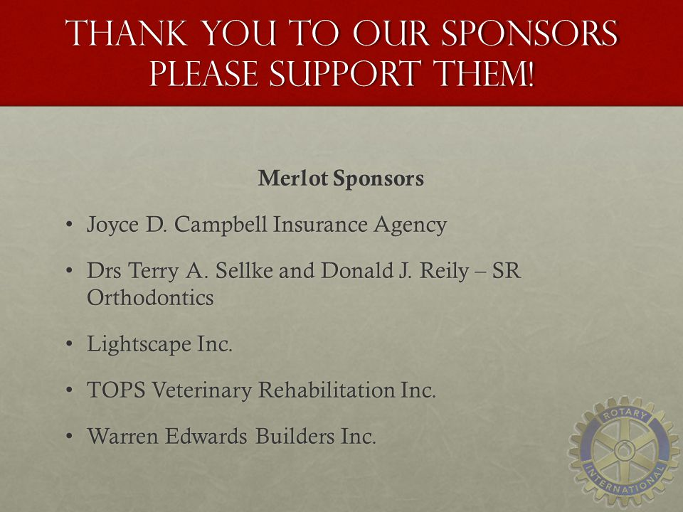 Thank you to our sponsors Please Support Them!