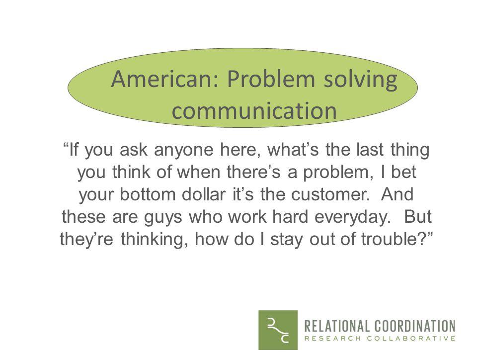 American: Problem solving communication