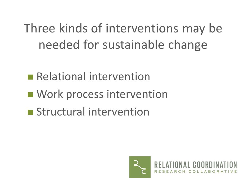 Three kinds of interventions may be needed for sustainable change