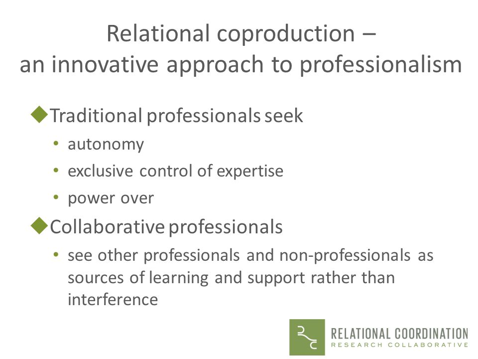 Relational coproduction – an innovative approach to professionalism