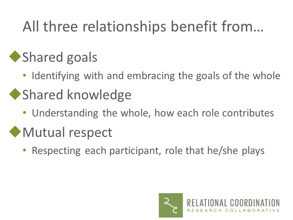 All three relationships benefit from…