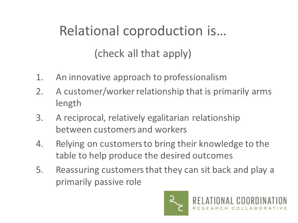 Relational coproduction is…