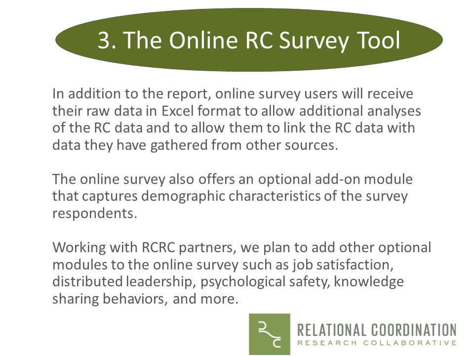 3. The Online RC Survey Tool