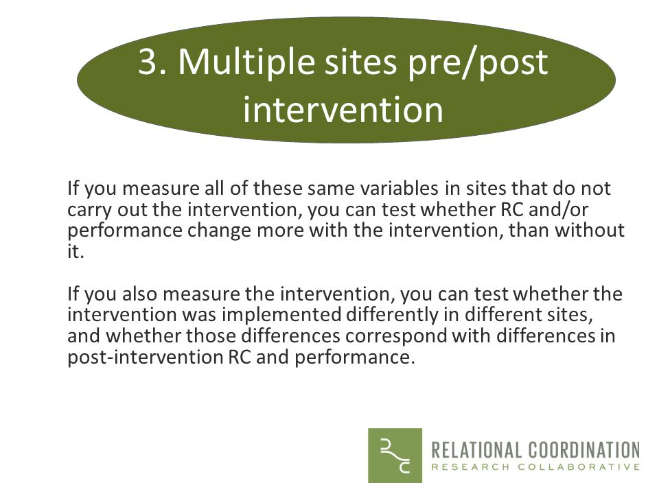 3. Multiple sites pre/post intervention